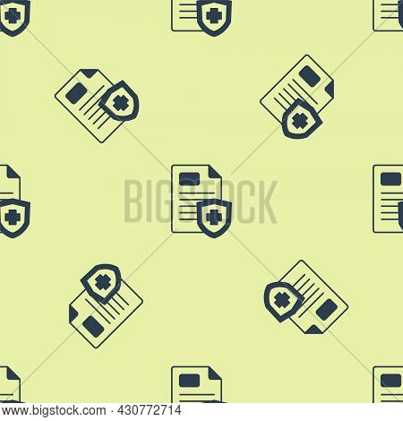 Blue Medical Clipboard With Clinical Record Icon Isolated Seamless Pattern On Yellow Background. Pre
