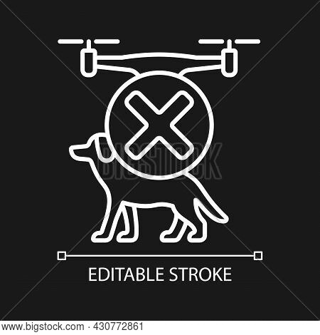 Dont Fly Above Animals White Linear Manual Label Icon For Dark Theme. Thin Line Customizable Illustr