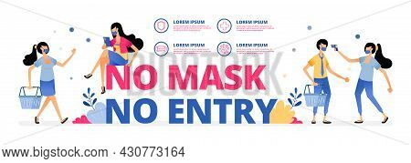 Vector Illustration Of Mandatory Warning Sign To Wear A Mask At Doing Outdoor Activities Or Meeting