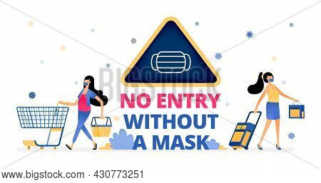 Vector Illustration Of Warning Signs To Remind People To Wear Masks When Shopping And Traveling. Inf