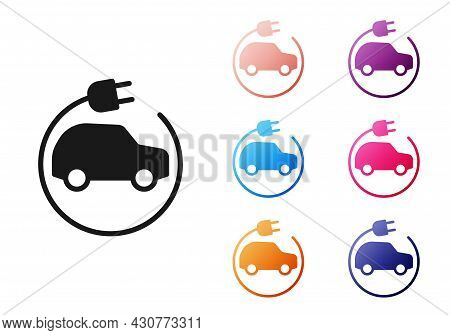 Black Electric Car And Electrical Cable Plug Charging Icon Isolated On White Background. Renewable E