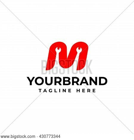 Letter M With Wrench Logo, Industrial Repair Tools, Logo For Corporate Identity