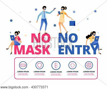 Vector Illustration Of Warning To Remind People To Keep Wearing Masks Outside The House. Information