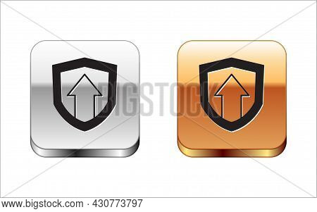 Black Financial Growth Increase Icon Isolated On White Background. Increasing Revenue. Silver And Go