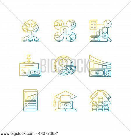 Finance Black Gradient Linear Vector Icons Set. Money Investment. Business Report. Project Revenue.