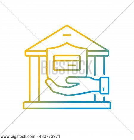 Bank Account Gradient Linear Vector Icon. Insurance For Secure Deposit. Savings On Balance. Financia