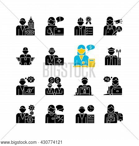 Company Staff Related Rgb Black Glyph Icons Set On White Space. Chief Executive Officer. Customer Su