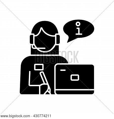 Receptionist Black Glyph Icon. Greeting Guests And Visitors. Answer Phone Calls. Assist And Support