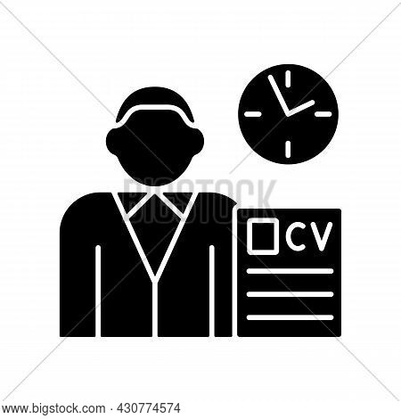 Job Applicant Black Glyph Icon. Apply For New Job. Signing Up For New Work Position. Job Opening. Se