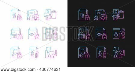 Confidential Information Types Gradient Icons Set For Dark And Light Mode. National Security. Thin L