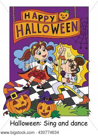 Funny Children In Costumes Of Retro Singers Sing On Stage. Halloween Concept. Cartoon Vector Illustr