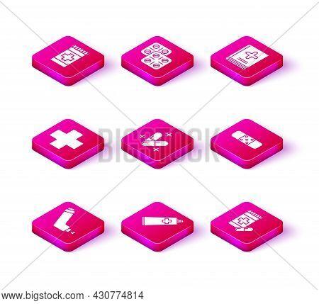 Set Inhaler, Ointment Cream Tube Medicine, Cross Hospital Medical, Medicine Pill Or Tablet, Bottle A