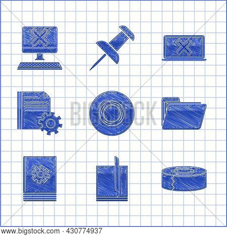 Set Scotch, File Document, Document Folder, User Manual, Settings With Gears, Laptop And Cross Mark