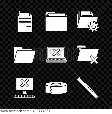 Set File Document And Paper Clip, Document Folder, Folder Settings With Gears, Computer Keyboard X M