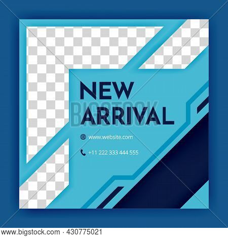 Blue Social Media Post And Internet Ads Templates. Minimalist Geometric Concept. Alternate Design Is