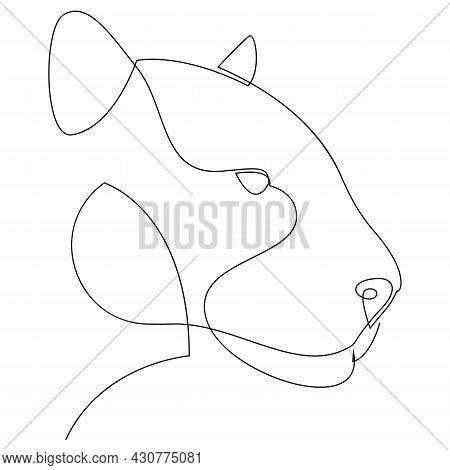 Jaguar Head Continuous One Line Drawing. Single Line Vector Illustration.