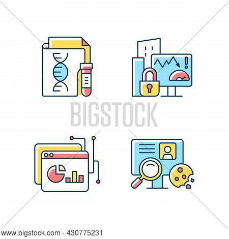 Sensitive Data Types Rgb Color Icons Set. Genetic Information. Company Risk Scoring. Data Intelligen