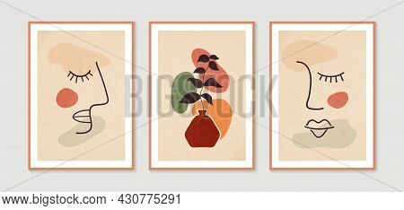Line Woman Portrait And Botanical Wall Art Vector Set. Collection Of Contemporary Art Posters. Minim