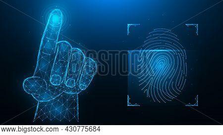 Fingerprint Identification Concept. Biometric Data Low Poly Design. Polygonal Vector Illustration Of
