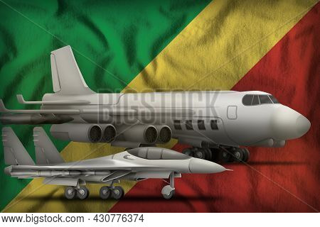 Air Forces On The Congo Flag Background. Congo Air Forces Concept. 3d Illustration