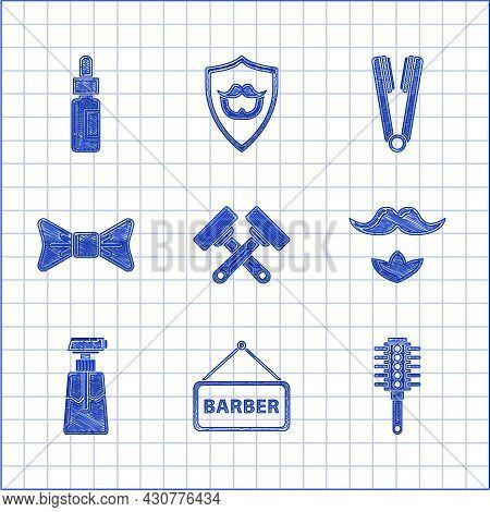 Set Crossed Shaving Razor, Barbershop, Hairbrush, Mustache And Beard, Cream Lotion Cosmetic Tube, Bo