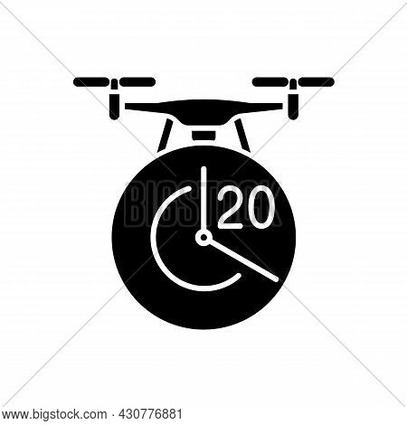 Maximum Flight Time Black Glyph Manual Label Icon. Twenty Minutes Limitation. Flight Duration. Silho