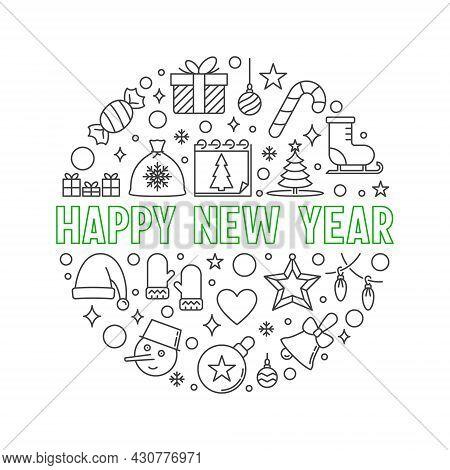 Happy New Year Circular Vector Line Minimal Illustration
