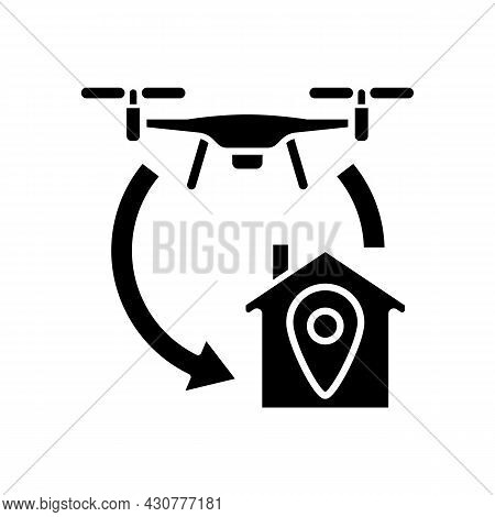Return To Home Function Black Glyph Manual Label Icon. Autonomous Flight Feature. Flying To Rth Loca