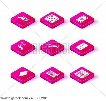 Set Playing Card With Diamonds Symbol, Slot Machine Lucky Sevens Jackpot, Hand Holding Casino Chips,