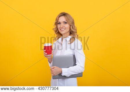 If You Feel Tired Take Break. Happy Career Girl Hold Paper Cup. Tea Break At Work