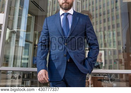 Cropped Entrepreneur In Businesslike Suit Outside The Office, Business