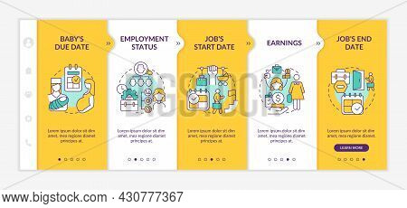 Calculating Maternity Pay Requirements Onboarding Vector Template. Responsive Mobile Website With Ic