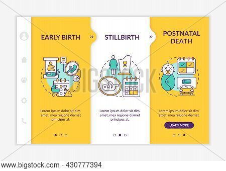 Maternity Leave Entitlement Cases Onboarding Vector Template. Responsive Mobile Website With Icons.