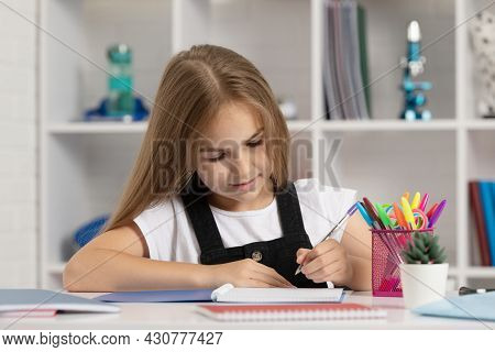 School Girl With Notebook. Back To School. Teen Girl Ready To Study. Happy Childhood.