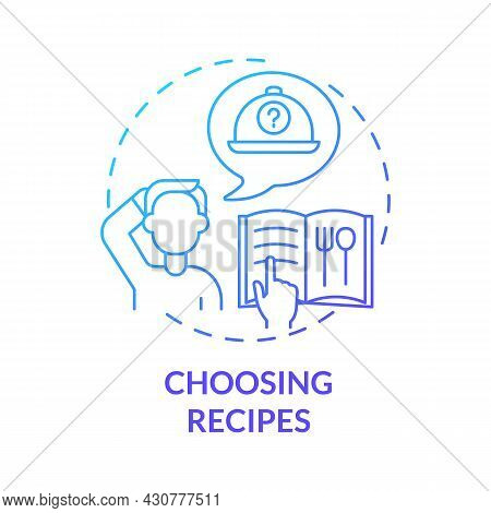 Choosing Recipes Blue Gradient Concept Icon. New Recipes For Balanced Nutrition Abstract Idea Thin L