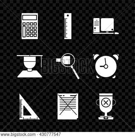 Set Calculator, Ruler, Computer Monitor With Keyboard And Mouse, Triangular Ruler, Exam Paper Incorr
