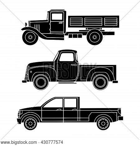 Silhouettes Of Black Vintage Cars. Trucks And Suvs. Vector Illustration