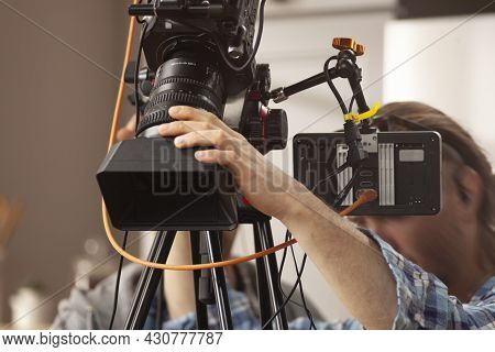 Television Camera In The Studio Before Recording A Culinary Program.