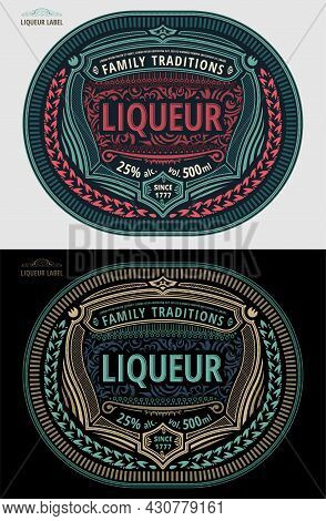 Liquor Label, Modern Style Typographic Template, Beverage Package Design