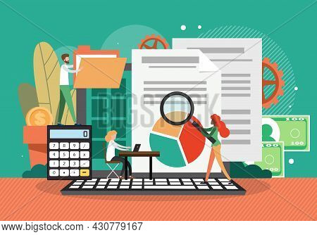 Financial Audit. Company Financial Reports Evaluation, Vector Illustration. Accounting Budget Planni