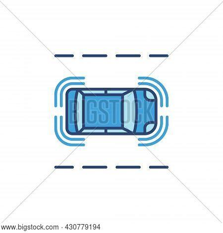 Autonomous Car On The Street Vector Blue Icon. Top View