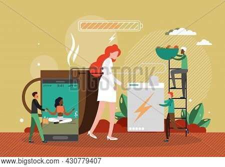 Tired Woman Being Charged With Yoga Coffee Healthy Diet Like Battery With Low Energy, Flat Vector Il