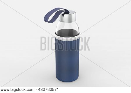 Glass Bottle With Pouch Mockup Isolated On White Background. 3d Illustration