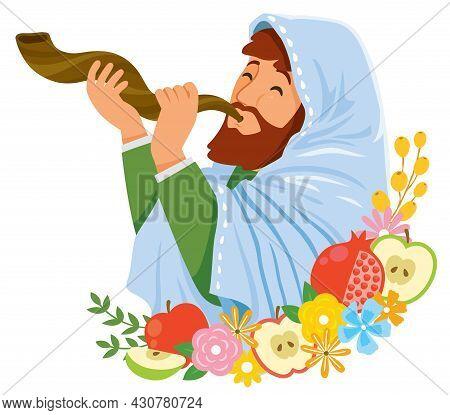 Celebrating Rosh Hashanah. Jewish Man Blowing The Shofar On The Jewish New Year.