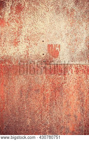 Rust Metal Texture Background. Vertical Crop. Close Up.