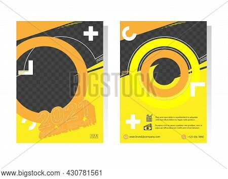 Geometry Brochure, A4 Size Flyer Template. Abstract Vector Design. Leaflet Layout Presentation In A4