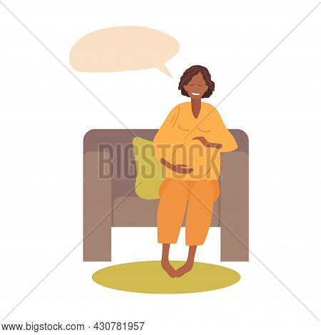 Smiling Pregnant Woman Sits On Chair With Her Eyes Closed And Dreams. African-american Woman Happy A