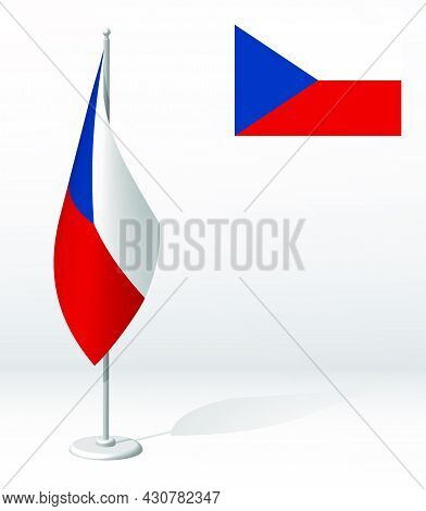 Flag Of Czech On Flagpole For Registration Of Solemn Event, Meeting Foreign Guests. National Indepen