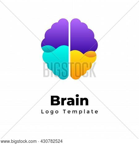 Creative Brain Vector Logo Template. Left And Right Hemispheres. Rational And Emotional. Abstract Ed