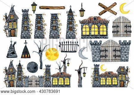 Vintage Castle Set Of Elements For Halloween Holiday Scene Design. Hand Drawn Watercolor Illustratio